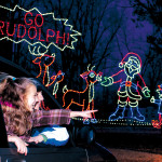 This family light adventure is a 1.2-mile driving journey through brilliant displays telling the story of Rudolph.