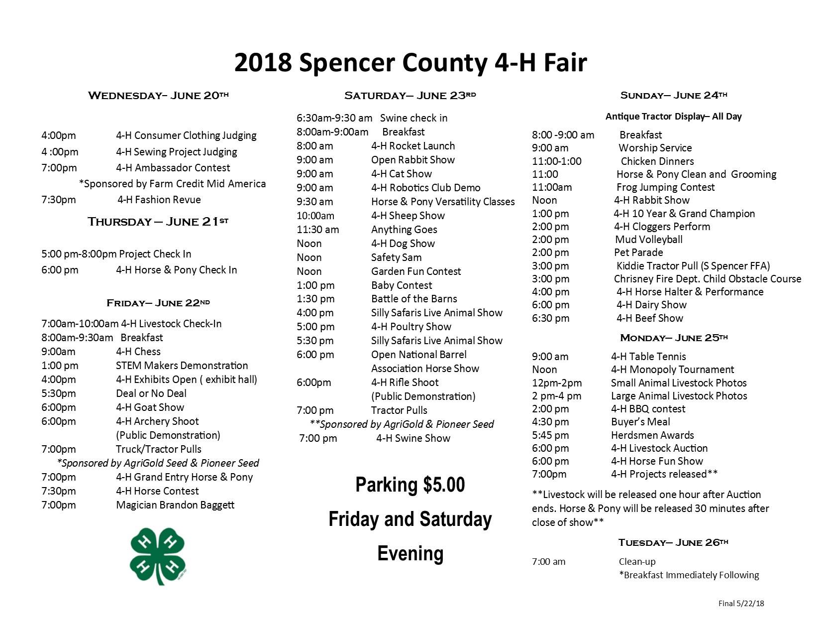 2018 Spencer County 4-H Fair in Chrisney, Indiana