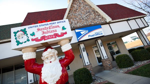 Santa Claus Post Office Fall exterior sign