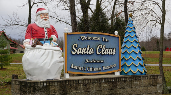 Santa Claus, Indiana, welcome sign located at Santa's Lakeside Cottages