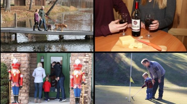 Collage photo of couple walking dog by lake, couple having wine, family shopping, father and son golfing in winter